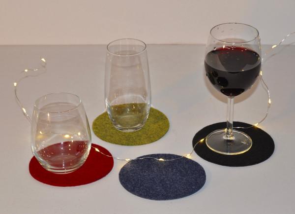 Filz Glasuntersetzer rund 12 cm Ø ( 6 Stück )
